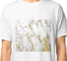 White Marble With Gold Accents Classic T-Shirt