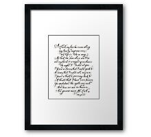At Last Etta James lyrics handwritten quote Framed Print