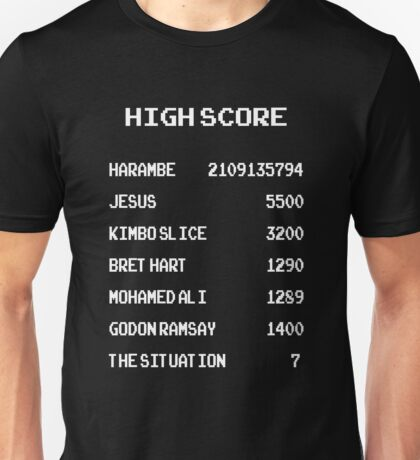 high score harambe, jesus, kimbo slice Unisex T-Shirt