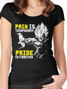 Pain Is Temporary, Pride Is Forever (Vegeta Hardcore Squat) Women's Fitted Scoop T-Shirt