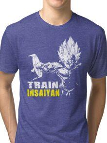 TRAIN INSAIYAN (Vegeta Hardcore Squat) Tri-blend T-Shirt
