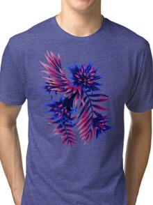 Fasciata Tropical Floral - Dark Blue / Purple Tri-blend T-Shirt