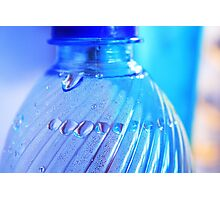 Blue Bottle/Water Drops Photographic Print