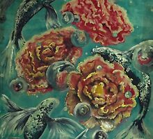 Peonies and Poissons option 2 by Tilly Campbell-Allen