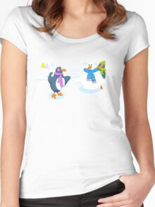 Penguins snowball fight Women's Fitted Scoop T-Shirt