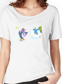 Penguins snowball fight Women's Relaxed Fit T-Shirt