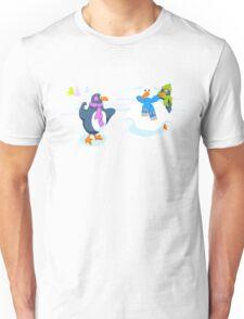 Penguins snowball fight Unisex T-Shirt