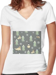 Winter Pattern Women's Fitted V-Neck T-Shirt