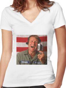Good Morning Robin Williams  Women's Fitted V-Neck T-Shirt