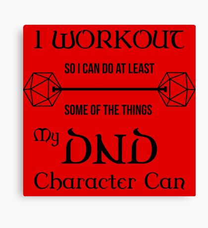 DnD Character Workout - in black Canvas Print