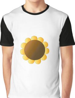 Sunflower Graphic Design, Brown and Yellow Nature Graphic T-Shirt