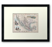 Vintage Map of Mexico (1851) Framed Print