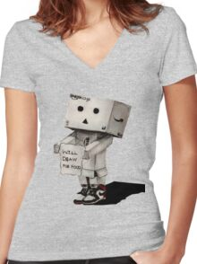 Danbo Drawing Women's Fitted V-Neck T-Shirt