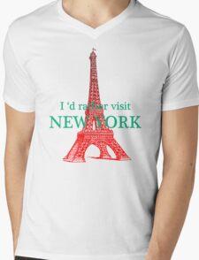 new york paris Mens V-Neck T-Shirt