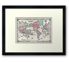 Vintage Map of The World (1852) Framed Print