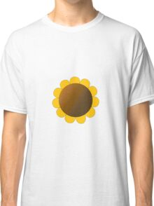 Sunflower Graphic Design, Solid Yellow and Brown Classic T-Shirt