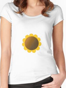 Sunflower Graphic Design, Solid Yellow and Brown Women's Fitted Scoop T-Shirt