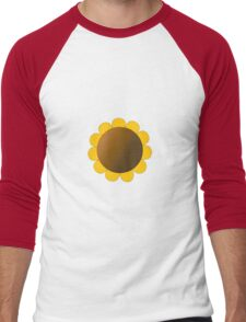 Sunflower Graphic Design, Solid Yellow and Brown Men's Baseball ¾ T-Shirt