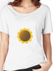 Sunflower Graphic Design, Solid Yellow and Brown Women's Relaxed Fit T-Shirt