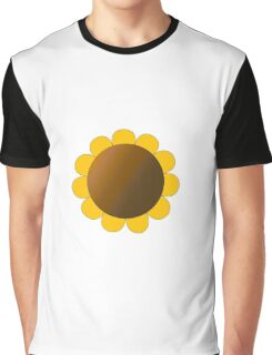 Sunflower Graphic Design, Solid Yellow and Brown Graphic T-Shirt