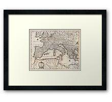 Vintage Map of Europe (1852) Framed Print