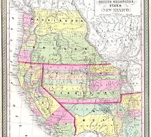 Vintage Map of The Western United States (1853)  by BravuraMedia