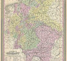 Vintage Map of Germany (1853) by BravuraMedia