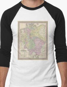 Vintage Map of Germany (1853) Men's Baseball ¾ T-Shirt