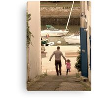 Father & Daughter Out for a Walk Canvas Print