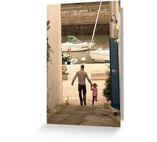 Father & Daughter Out for a Walk Greeting Card