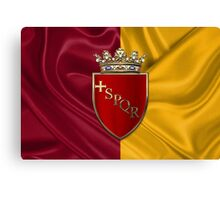 Coat of arms of Rome over Flag of Rome Canvas Print
