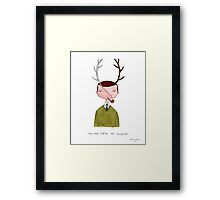 one real antler, one imagined Framed Print