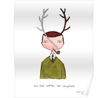 one real antler, one imagined Poster