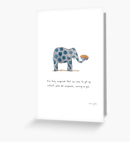 polka dot elephants, serving us pie Greeting Card