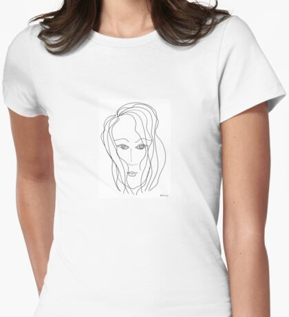 Abstract sketch of face VI Womens Fitted T-Shirt