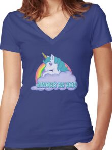 Unicorn Always Be You Women's Fitted V-Neck T-Shirt