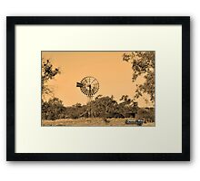 Sepia Windmill Framed Print