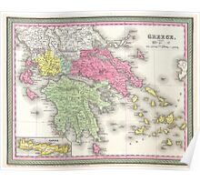 Vintage Map of Greece (1853) Poster