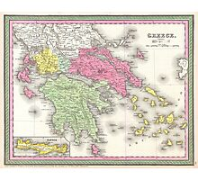 Vintage Map of Greece (1853) Photographic Print
