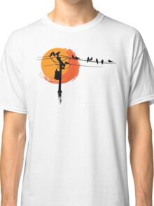 Birds on Wires with Sunset Classic T-Shirt