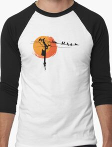 Birds on Wires with Sunset Men's Baseball ¾ T-Shirt