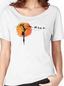 Birds on Wires with Sunset Women's Relaxed Fit T-Shirt