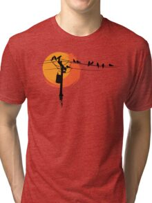 Birds on Wires with Sunset Tri-blend T-Shirt