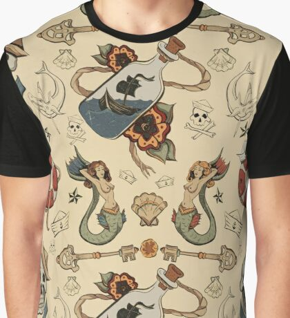 Sea Tattoo Repeating Pattern Graphic T-Shirt