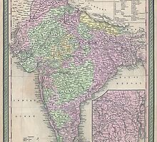 Vintage Map of India (1853) by BravuraMedia