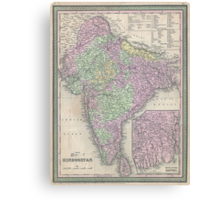 Vintage Map of India (1853) Canvas Print