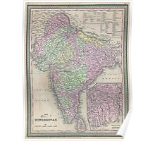 Vintage Map of India (1853) Poster