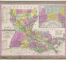 Vintage Map of Louisiana (1853)  by BravuraMedia