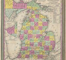 Vintage Map of Michigan (1853) by BravuraMedia
