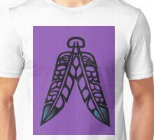 Eagle & Raven Feathers on Purple Unisex T-Shirt
